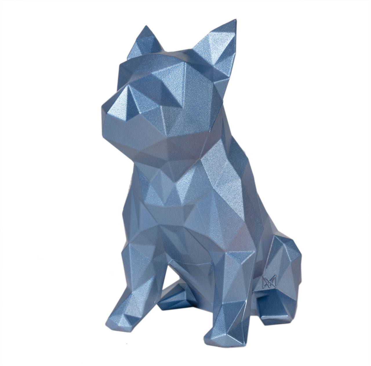 French Bulldog Geometric Sculpture - Frank in Metallic blue