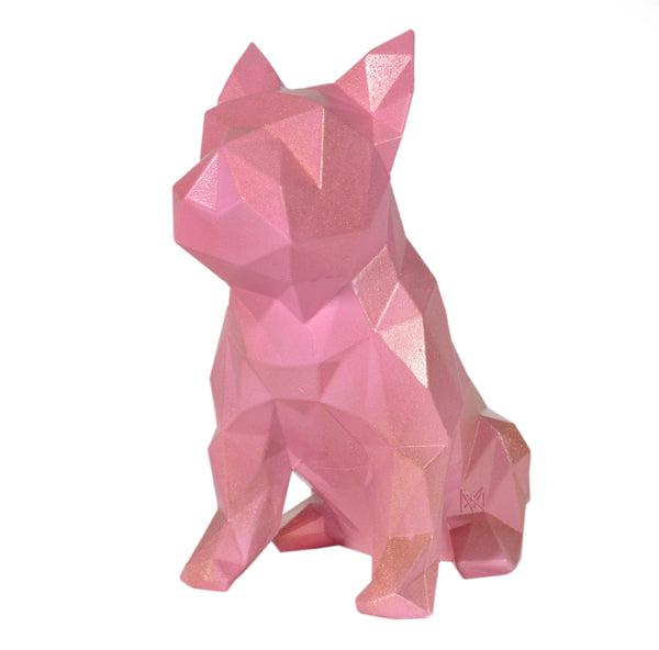 French Bulldog Geometric sculpture - Frank in Metallic Pink