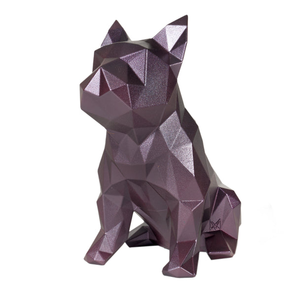 French Bulldog Geometric sculpture - Frank in Metallic Plum