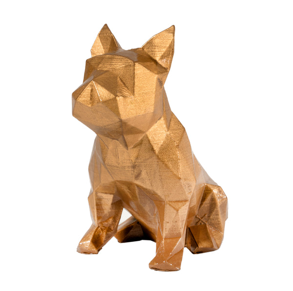 French Bulldog Geometric sculpture - Frank Junior in Metallic gold 3D printed