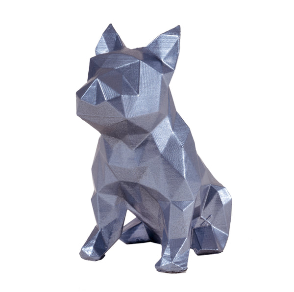 French Bulldog Geometric sculpture - Frank Junior in Hologram Silver 3D printed