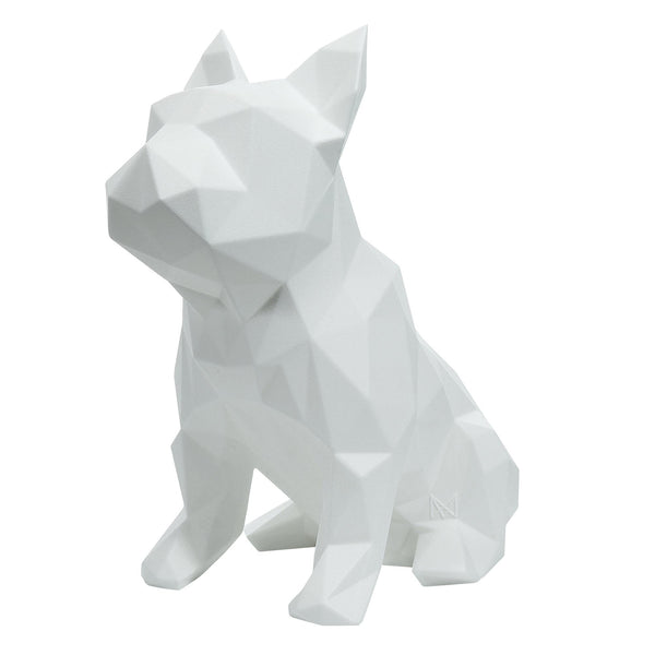 French Bulldog Geometric Sculpture - Frank in White