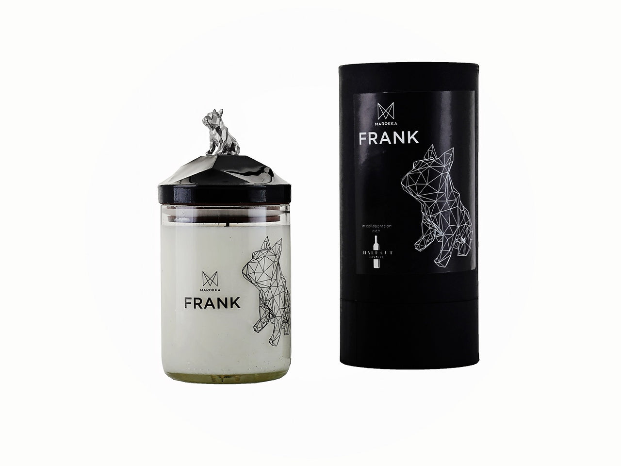 Handmade Natural Wax candle - French Bulldog design with matching lid and nickel charm