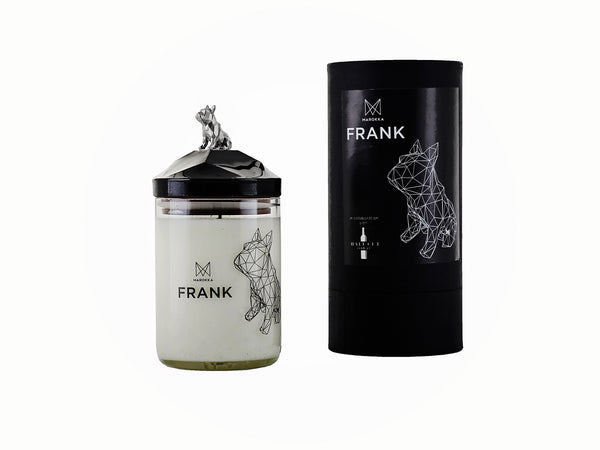 Luxury Handmade Candle - French Bulldog design with matching lid and nickel charm