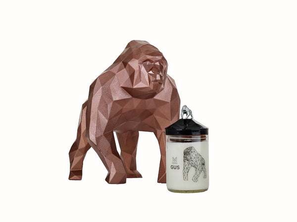 Gorilla candle and geometric sculpture