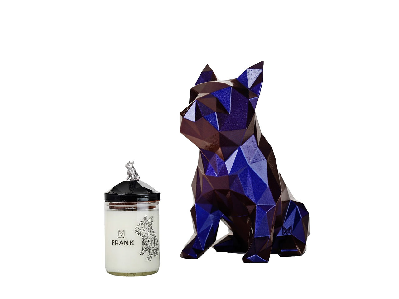 Handmade Natural Wax candle - French Bulldog Design with no charm but flat silver lid