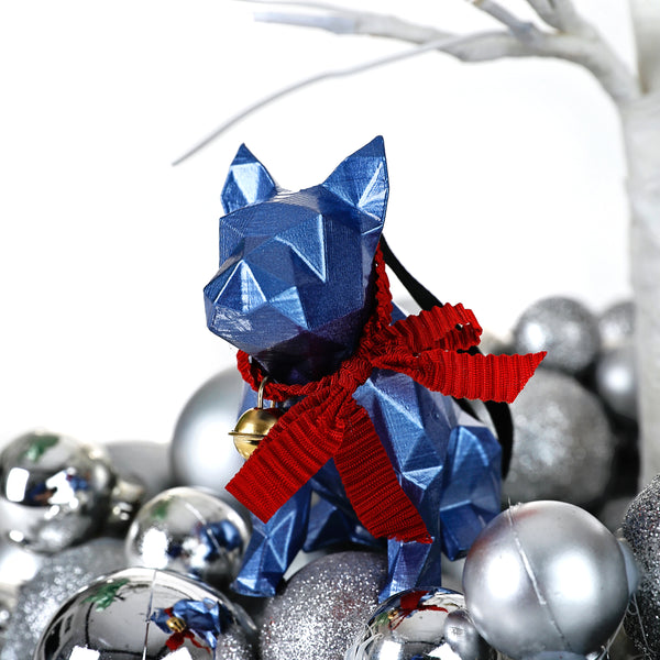 French Bulldog Geometric sculpture - Frank Junior in Metallic blue 3D printed