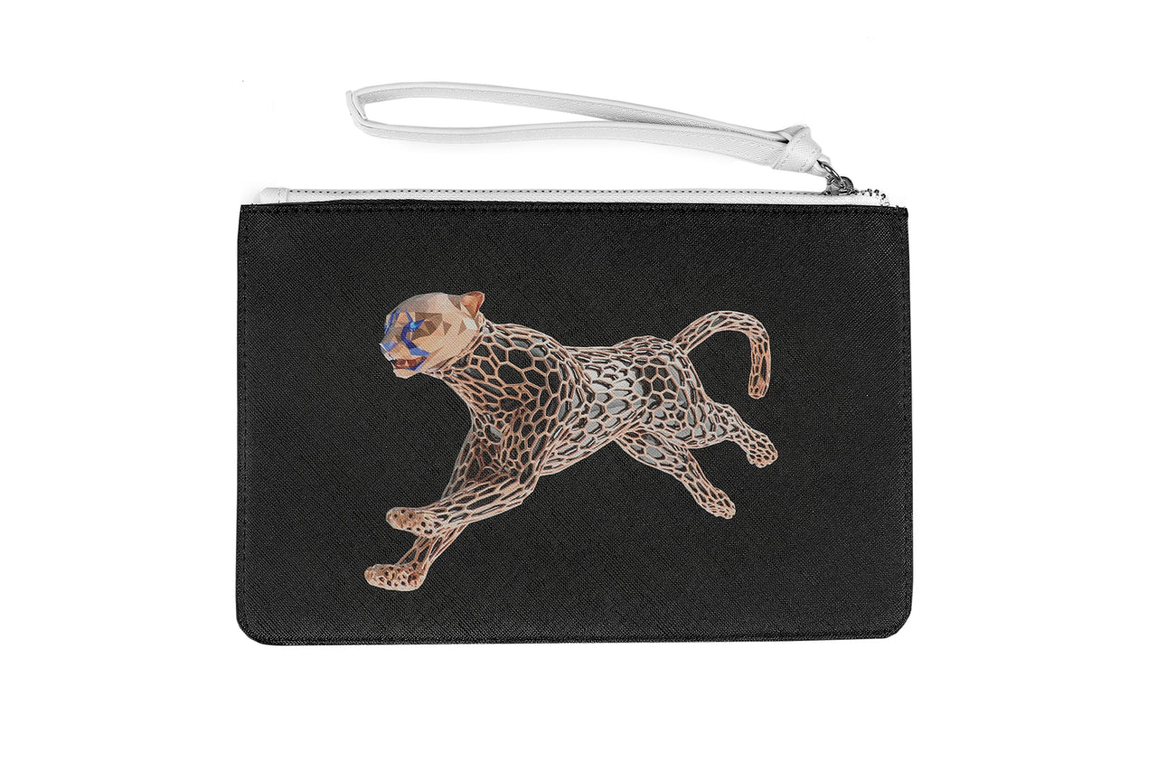 Cheetah Medium Clutch Bag Saffiano Leather finish - AVA