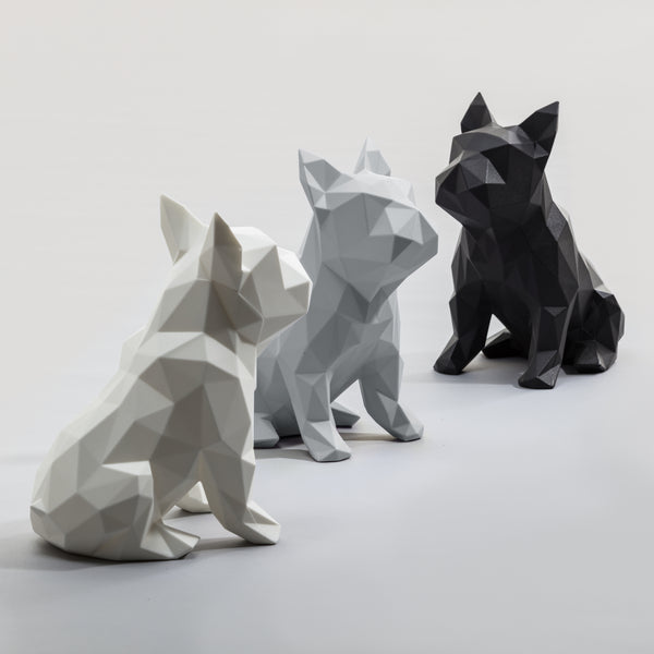 French Bulldog Geometric sculpture - Frank Junior in Matt Grey 3D printed