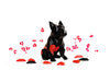 French Bulldog Geometric sculpture - Frank with red hearts