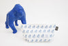 Gus - Gorilla Geometric Wash/Make-up Bag Small - White with Single Gus Blue