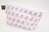 Gus - Gorilla Geometric Wash/Make-up Bag Large - White with Single Gus Pink