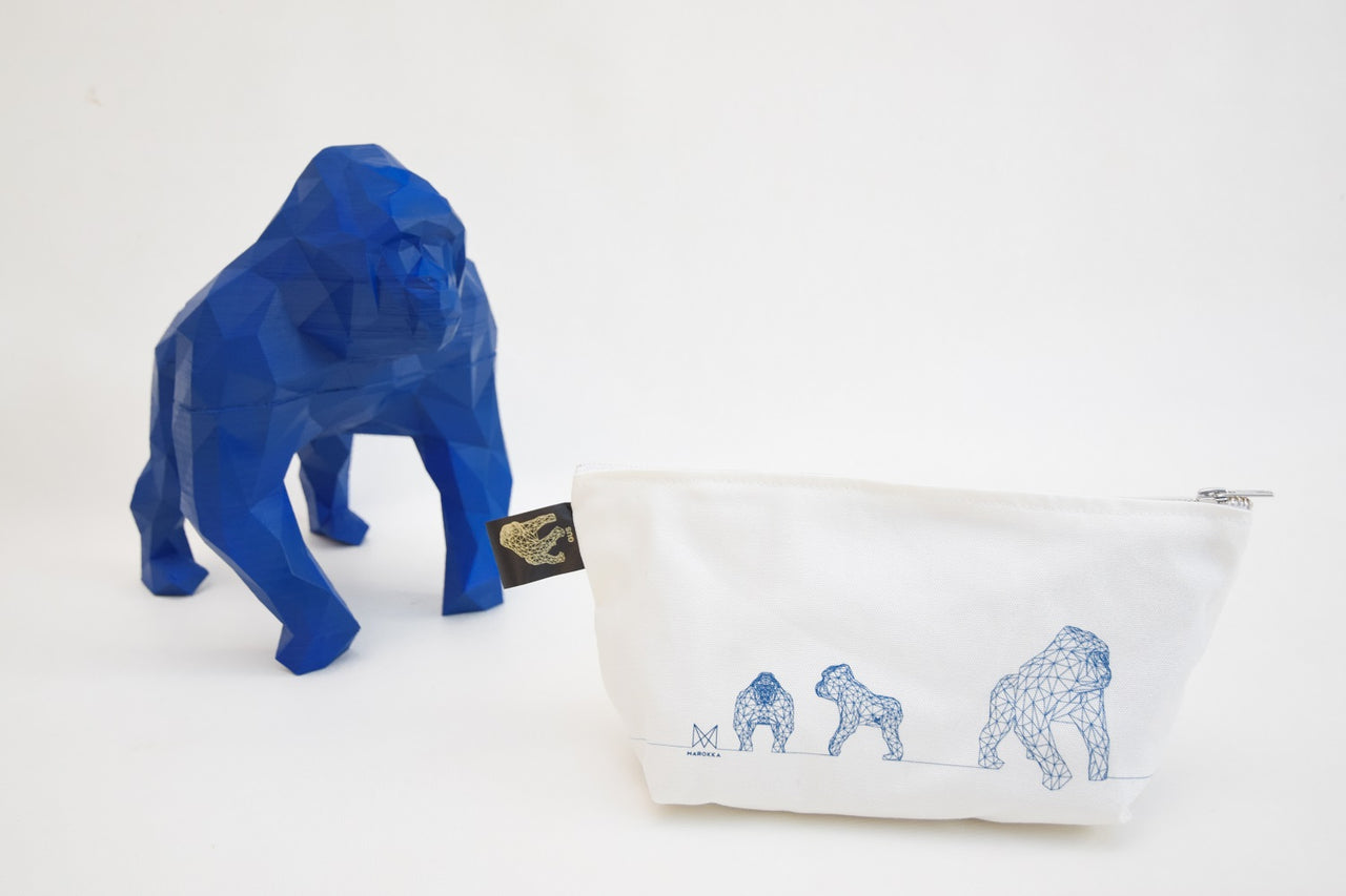 Gus - Gorilla Geometric Wash/Make-up Bag Small - White with 3 Gus Blue