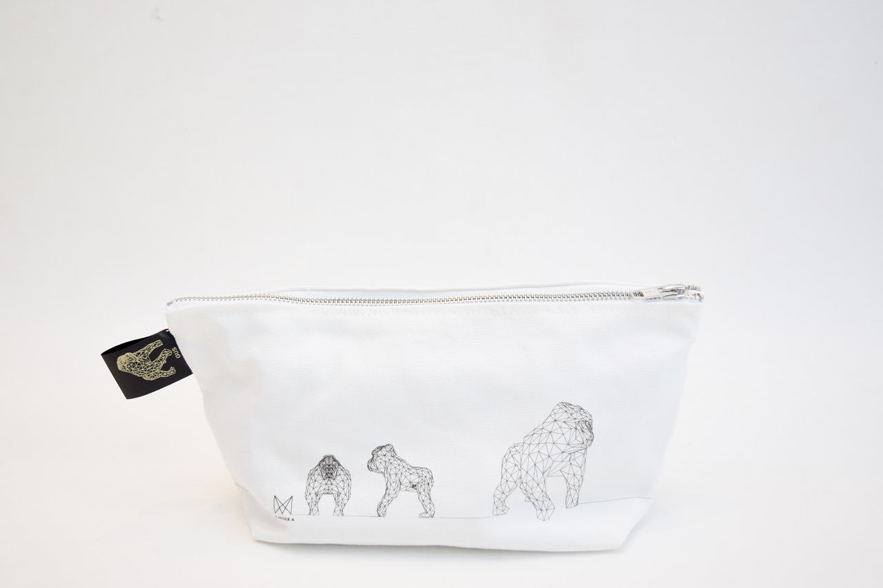 Gus - Gorilla Geometric Wash/Make-up Bag Small - White with 3 Gus Graphite