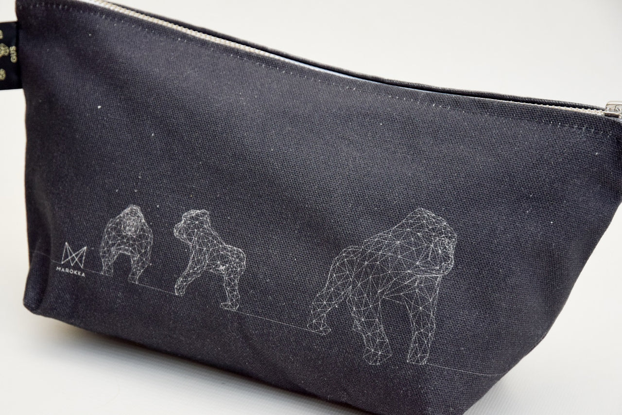 Gus - Gorilla Geometric Wash/Make-up Bag Small - Grey with 3 Gus White