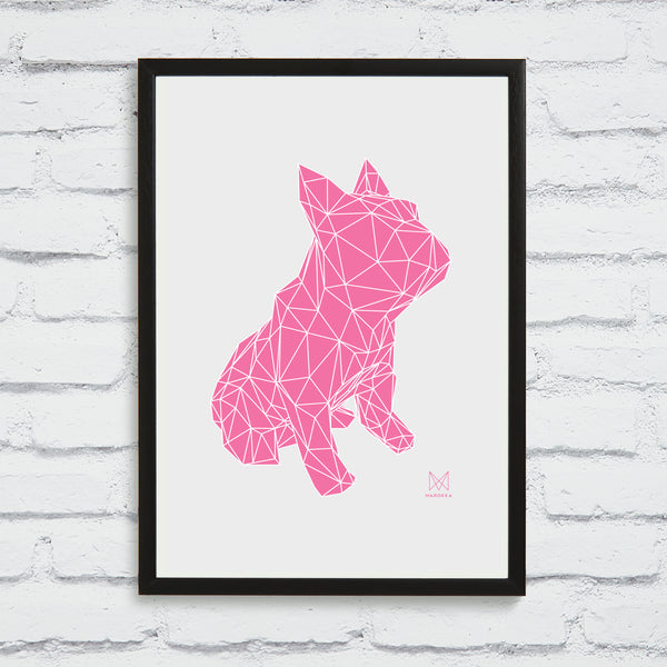 French Bulldog Screen Print - Pink on White Framed
