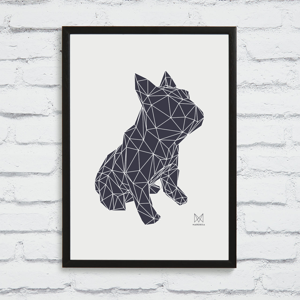 French Bulldog Screen Print - Black on White Framed