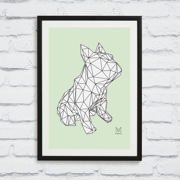 French Bulldog Screen Print - FRANK White on Green Framed