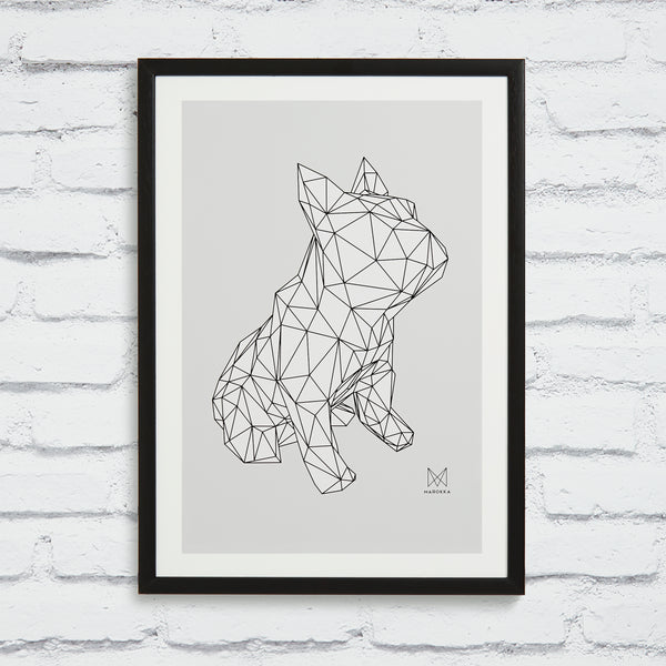 FRANK French Bull dog Screen Print - White on Grey