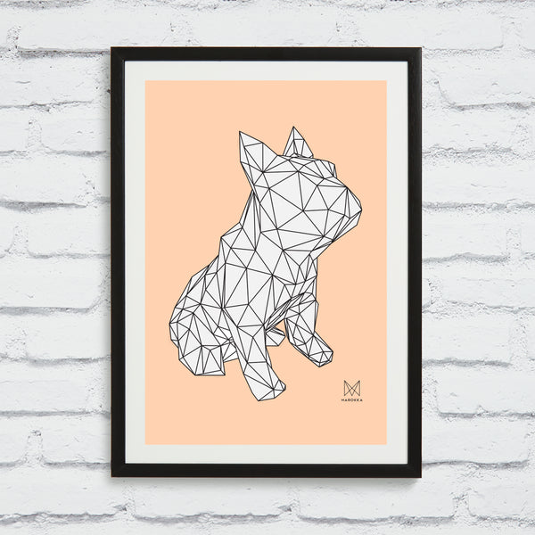 French Bulldog Screen Print - Frank White on Peach framed
