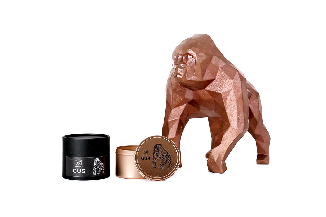 Luxury Scented Natural Wax Candle Gus our gorilla tin with geometric heart