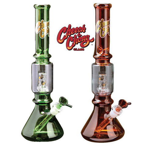 Cheech and Chong Glass 15.5 Inch Tall Framed Beaker Tube With 14mm Joint - The High Road