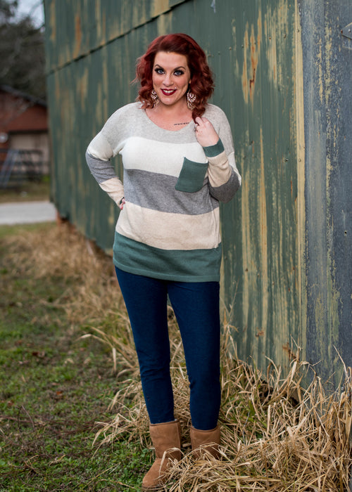 Cozy Nights Color Block Sweater