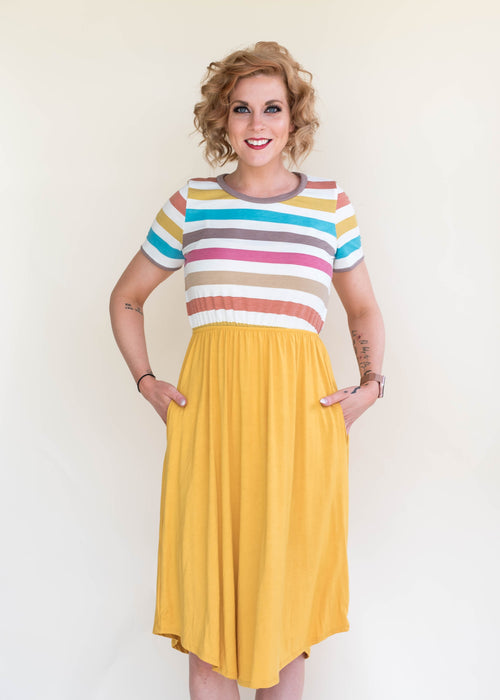 Rainbow Stripe Combo Dress