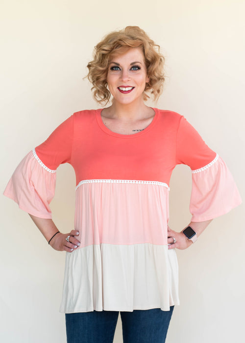 Coral Color Block Top