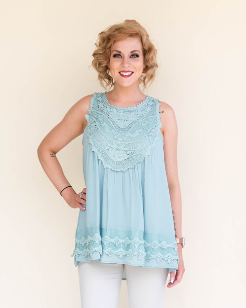 Sky Blue Embroidered Top