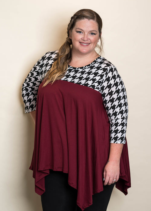 Houndstooth Contrast Tunic