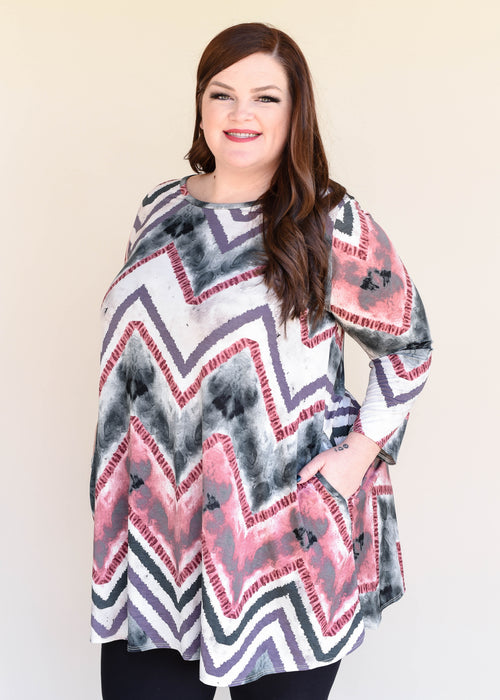 Pretty in Pink Chevron Tunic