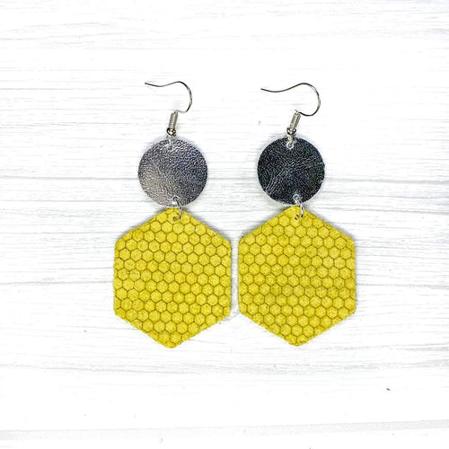 Hexagon Leather Earrings, Yellow