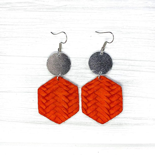 Hexagon Leather Earrings, Red