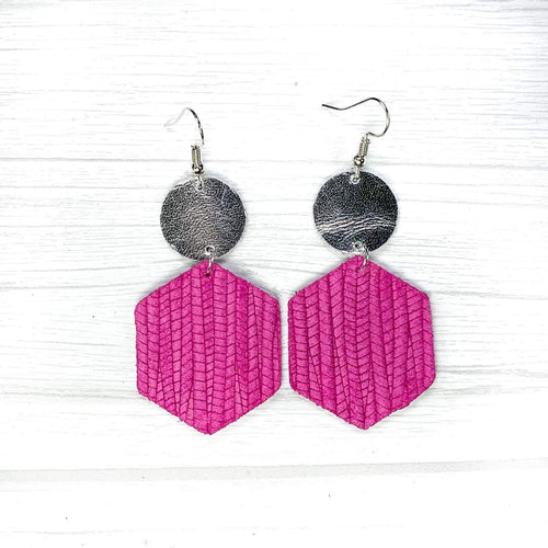 Hexagon Leather Earrings, Pink
