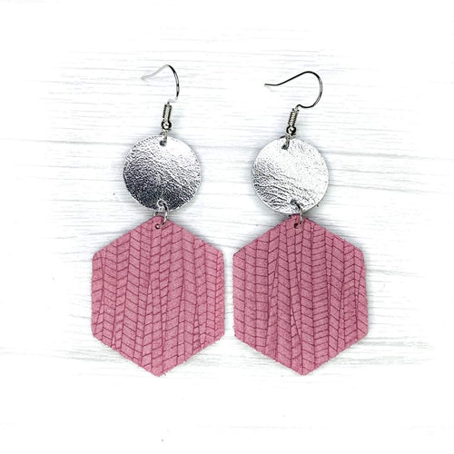Hexagon Leather Earrings, Mauve