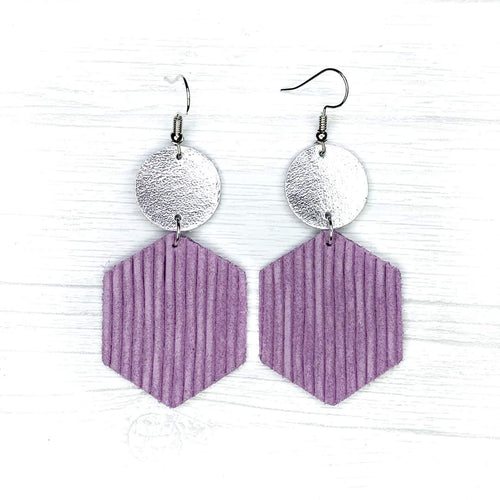Hexagon Leather Earrings, Lavender