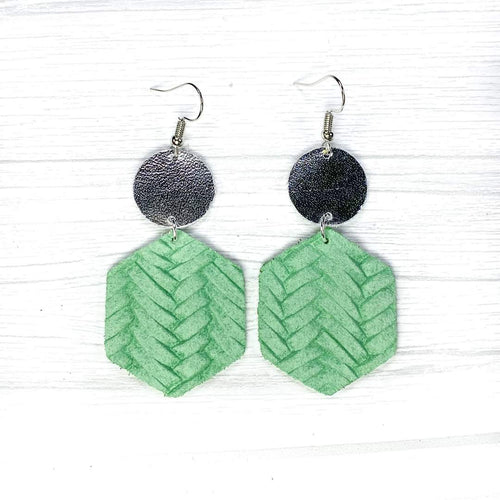 Hexagon Leather Earrings, Mint