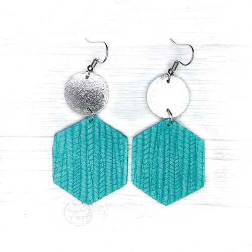 Hexagon Leather Earrings, Turquoise