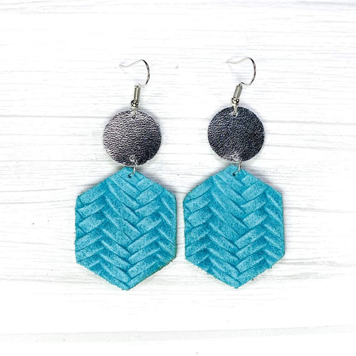 Hexagon Leather Earrings, Light Blue