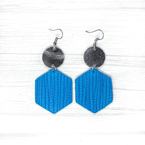 Hexagon Leather Earrings, Blue