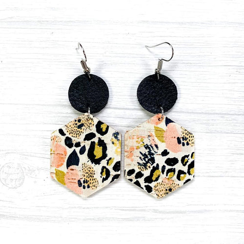 Hexagon Leather Earrings, Watercolor Leopard