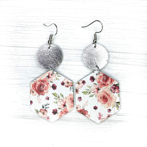 Hexagon Leather Earrings, Floral