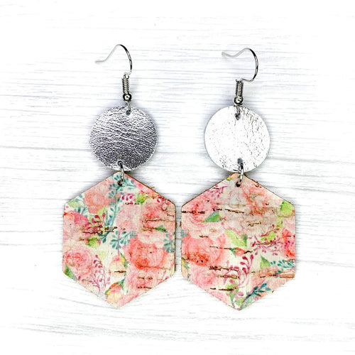 Hexagon Leather Earrings, Bright Floral