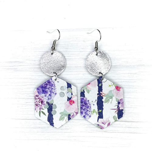 Hexagon Leather Earrings, Lavender Floral
