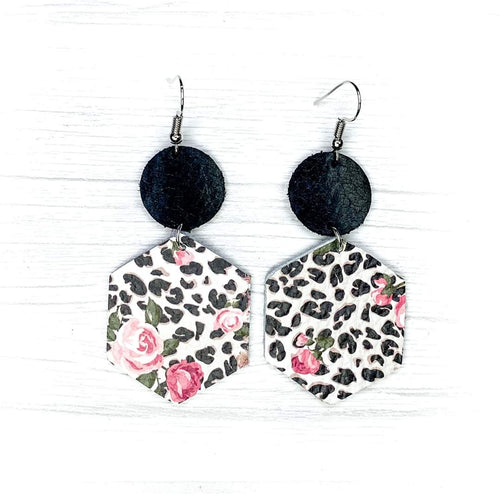 Hexagon Leather Earrings, Leopard Floral