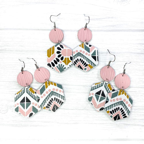 Hexagon Leather Earrings, Pink Aztec