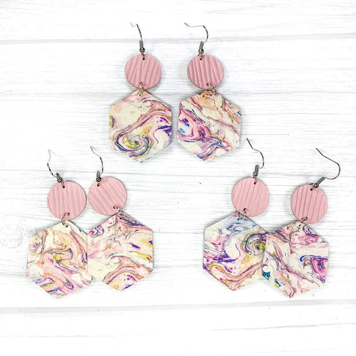 Hexagon Leather Earrings, Marble