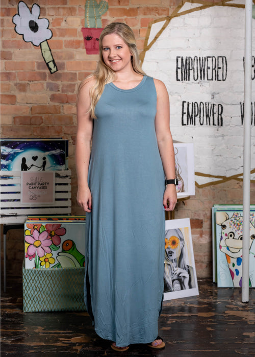 Sleeveless Maxi Dress, Blue Gray