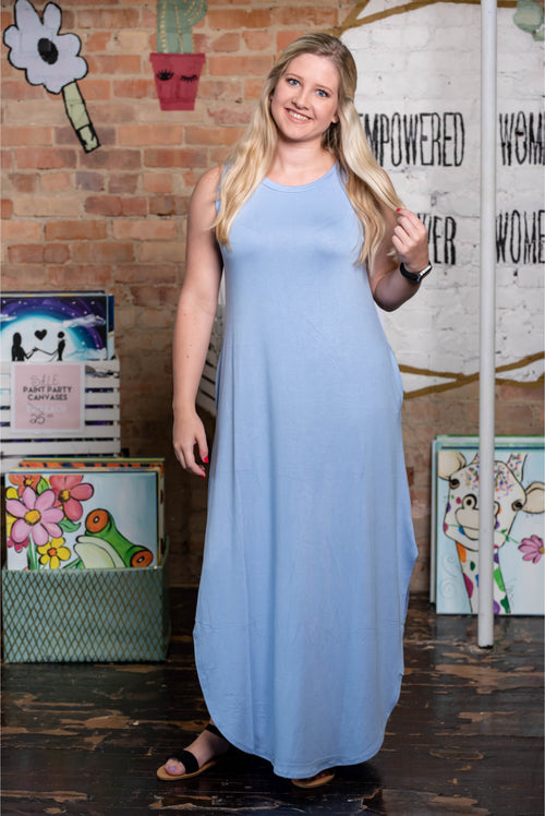Sleeveless Maxi Dress, Spring Blue